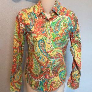 Button down Paisley cotton blouse